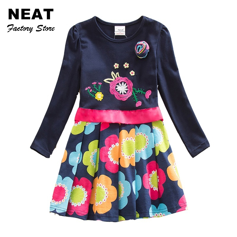 Retail NEAT 2014 New Free Shipping Lace Dress Baby Girls Long Sleeve Print Embroidery Children Clothing
