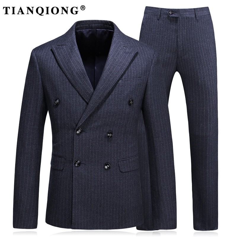 TIAN QIONG 2017 New Arrival Wool Stripe Wedding Suit Dinner Suit Double Breasted Groom Tuxedos Groomsman Suit Custom Man Suit
