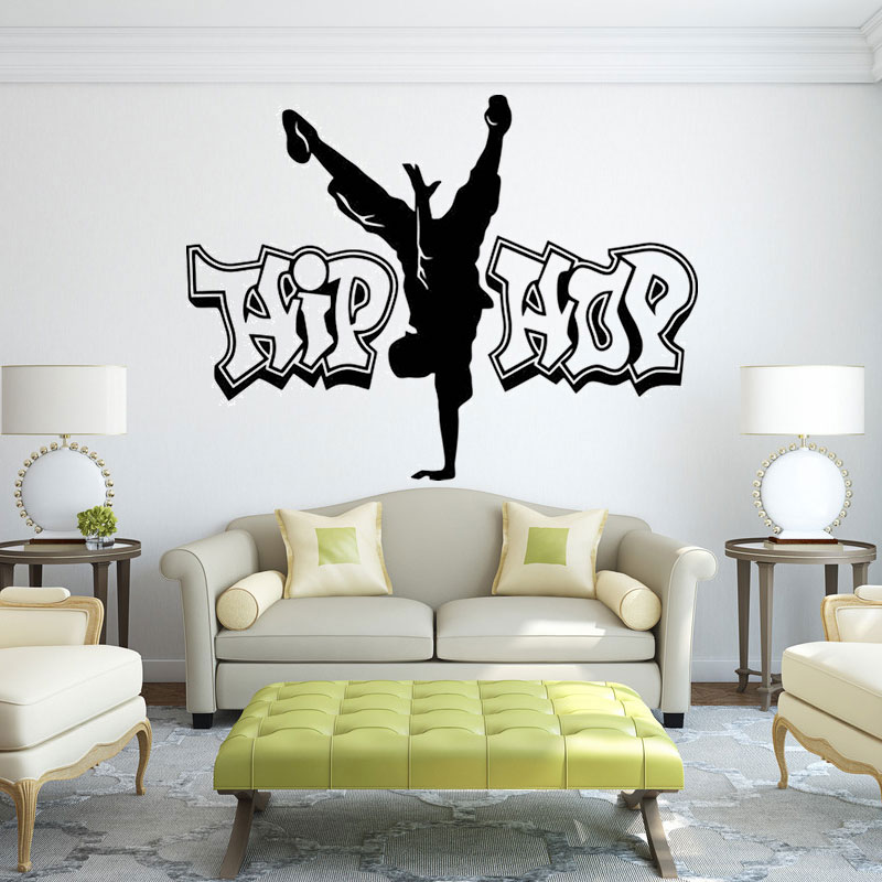 Hip-hop wall decals street dance vinyl sticker rap music decoration dance wall sticker, home boy bedroom decoration TW03(China)