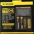 100% Original Nitecore D4 Digicharger LCD Circuito Inteligente li-ion Mundial de Seguros 18650 14500 16340 26650 Cargador de Batería