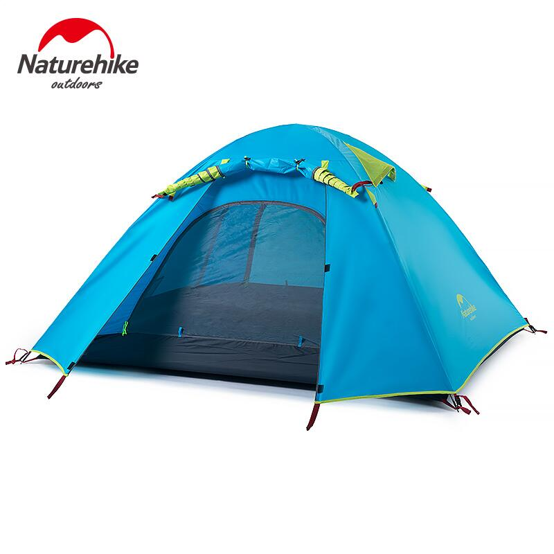 Naturehike Tents Camping 2-4 person tent aluminum pole NH double layer Outdoor Hiking Fishing tourist tent waterproof mrpomelo children indoor indian teepee play house solid blue garden game playhouse 100