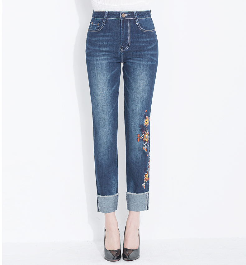 KSTUN Womens Jeans Slim Straight High Waist Quality Brand Summer Embroidered Floral Stretch Cuffs Denim Pants Casual Large Size 16