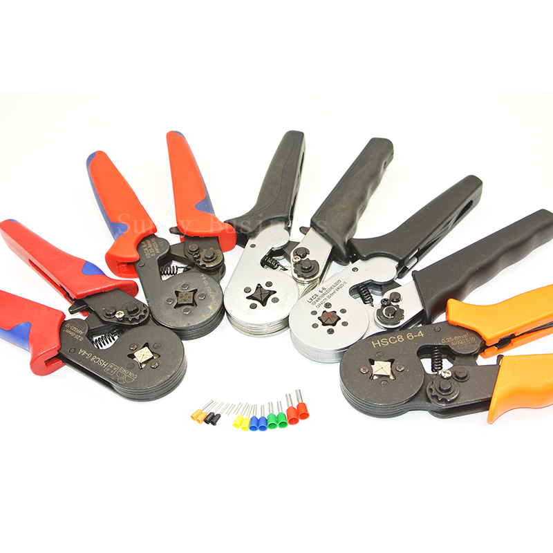 HSC8 6-4 MINI-TYPE SELF-ADJUSTABLE CRIMPING PLIER 0.25-6mm2 terminals crimping tools multi tool hands pliers LXC8 6-4 ratchet terminal crimping tools 6 25mm2 awg 10 4 terminals crimping tools hexagonal type multi crimping pliers