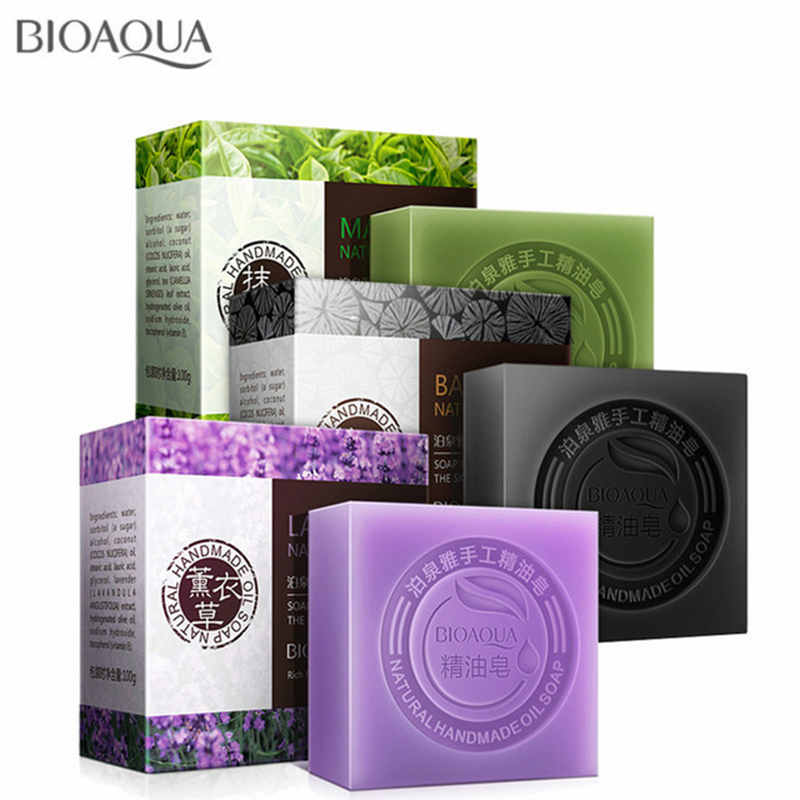 BIOAQUA Natural Plant Essential Oil Handmade Soap Whitening Moisturizing Remove Acne Clean Bath Soap Bamboo Charcoal Soap 100g
