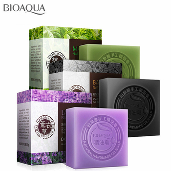 BIOAQUA Natural Plant Essential Oil Handmade Soap Whitening Moisturizing Remove Acne Clean Bath Soap Bamboo Charcoal Soap 100g недорого