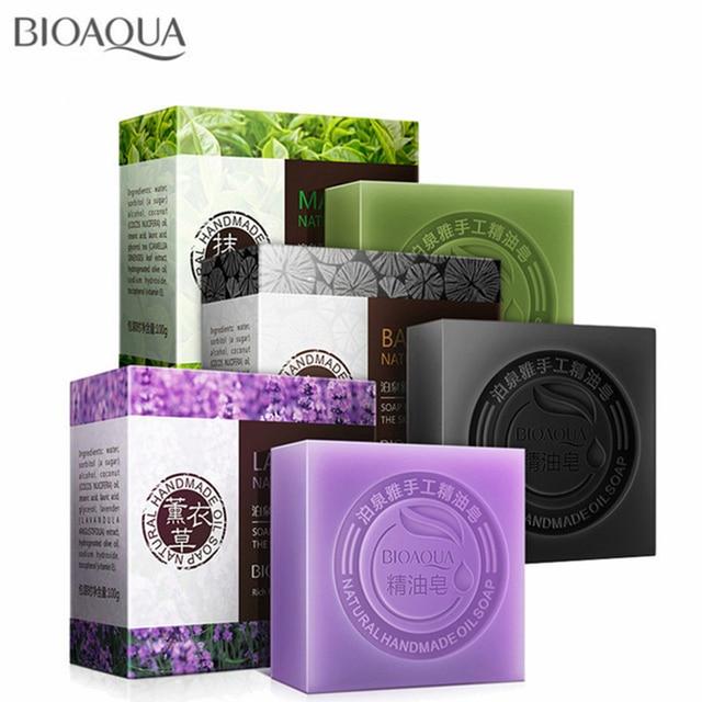 BIOAQUA Natural Plant Essential Oil Handmade Soap Whitening Moisturizing Remove Acne Clean Bath Soap Bamboo Charcoal Soap 100g