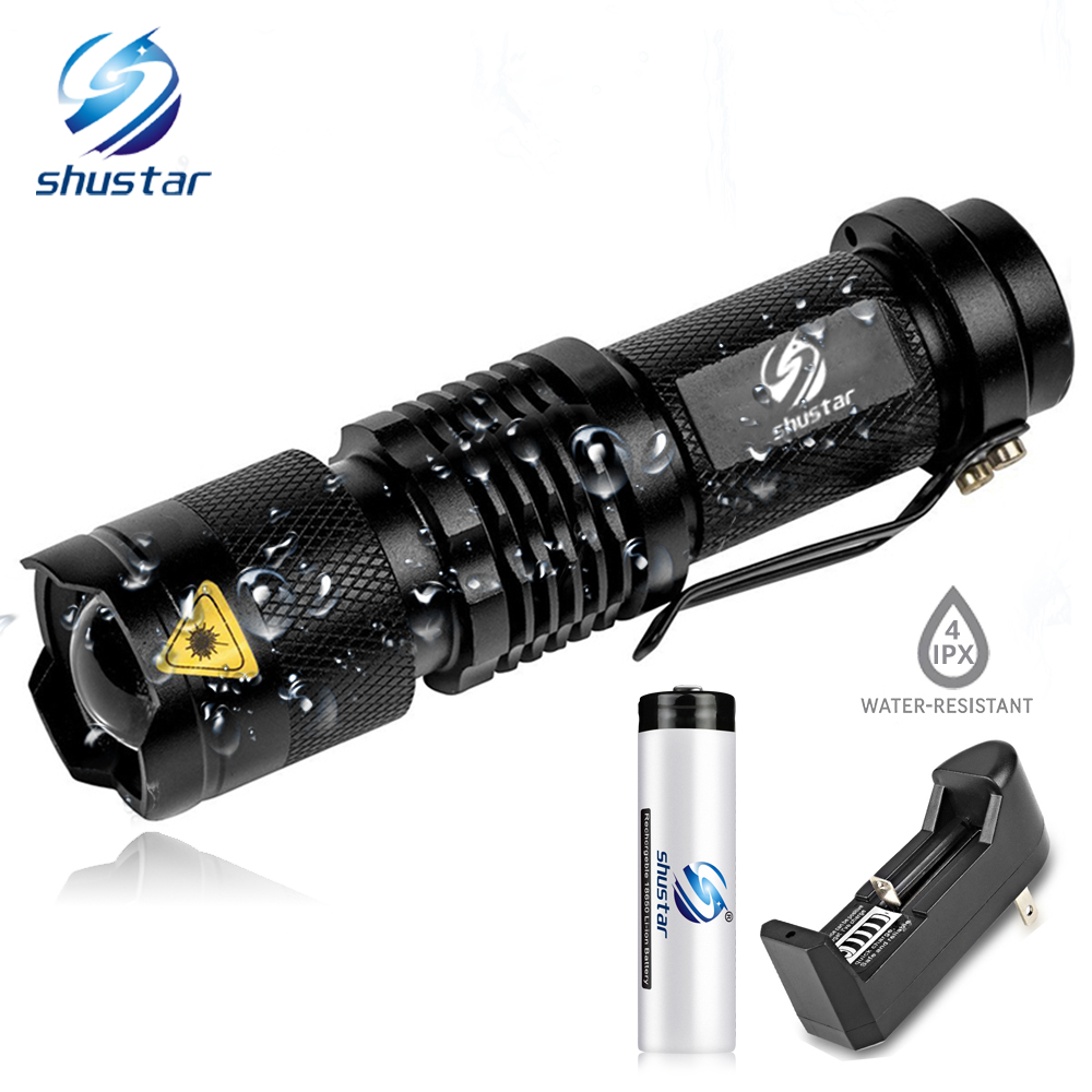 Mini LED Flashlight 4000LM Q5 T6 LED Torch Adjustable Focus Zoom Flash Light Lamp use 14500 and 18650 battery Give gift