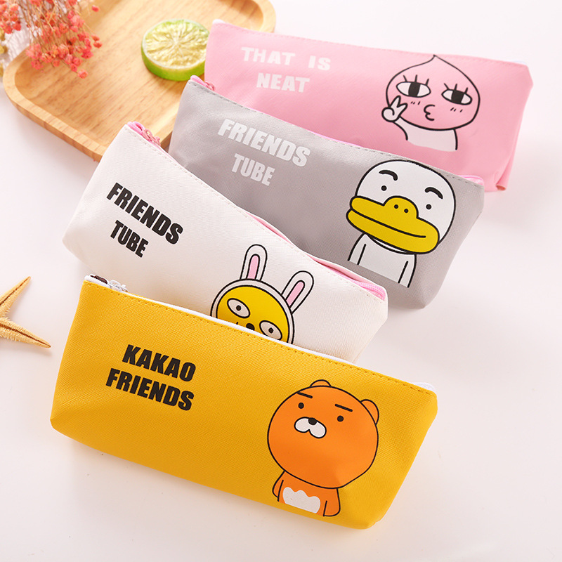 Cute Cartoon Pencil Case PU Waterproof School Pencil Case Male And Female Students Stationery Bag Office School Stationery