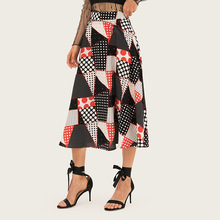 AcFirst Summer Black Bohemian Women Fashion Sexy Skirt High Waist Mid-calf Plaid Printed Long Skirts Beath A-Line