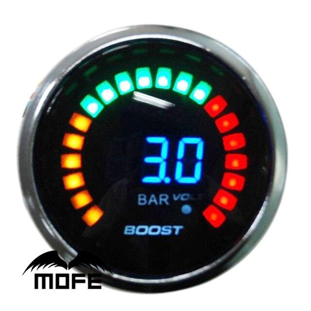 "Original Logo 52mm 20PCS Analog LED Bar Turbo Boost 2"" Gauge With Stepper Motor"