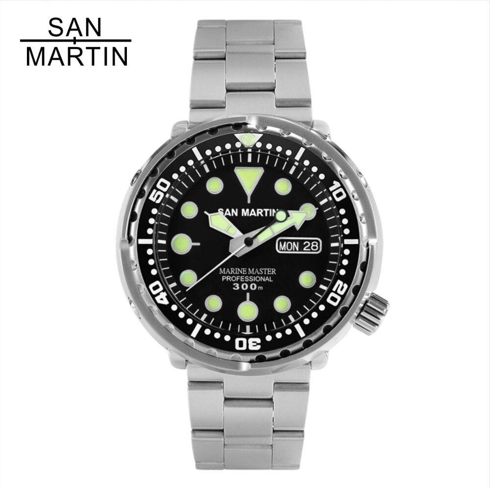 San Martin Atum SBBN015 Homens Da Moda Relógio Automático Relógio de Mergulho Relógio Do Esporte de Aço Stainlss 300 m Resistente À Água de Cerâmica bezel