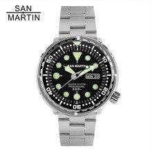 Сан Мартин тунец SBBN015 мужские модные часы автоматический Дайвинг спортивные часы нержавеющая сталь 300 м водостойкий керамика ободок