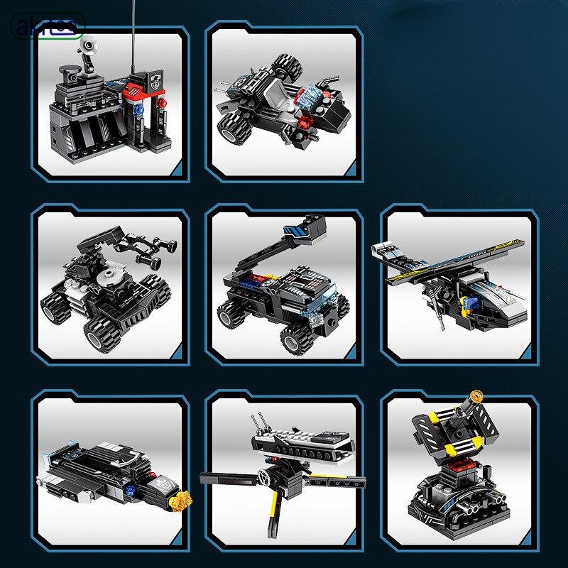 Akitoo DIY Team 27 ändern 8 in 3 Black Hawk spezielle auto kleine partikel bausteine puzzle montiert spielzeug #1205