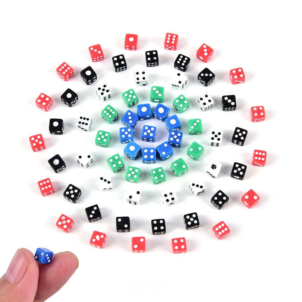 20 шт. х кубиков Стандартный 5 мм Набор кубиков D6 акрил для игры маленькие кости красный, синий, зеленый, белый, черный
