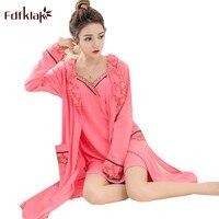 Fdfklak Robe Femme Sexy Bathrobe Women 2018 Autumn Winter Cotton Robes Set Ladies Sleepwear 2PCS Bath Robe Pijama Feminino