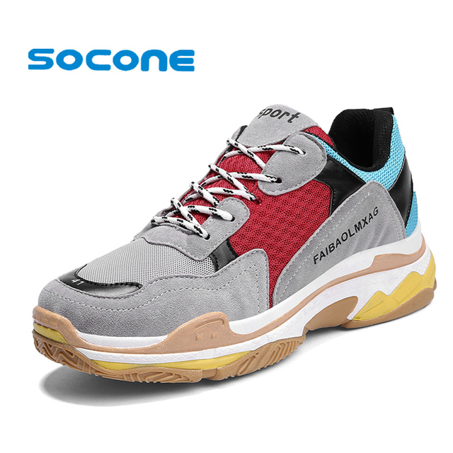 SOCONE 2018 New Design Mens Sneakers Vintage Suede Comfortable Shoes Men  Triple S Lightweight Balencia Walking Trainers 917ee499964