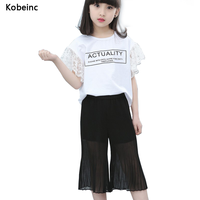 Kobeinc Children Sets Summer Chiffon Wide Leg Cropped Pants Lace Patch Short Sleeve T Shirt 2PCS Girls Clothing Casual Kids Suit women s summer floral print wide leg cropped pants