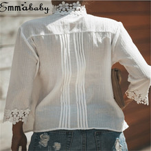 Trendy Women clothes cotton Casual Ladies Turtle Neck Summer T-Shirts Geometry three quarters sleeve Lace Tops one pieces