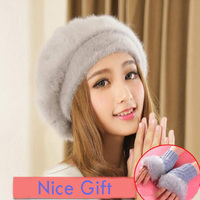 Women Fur Beret Hat For Winter Lady Knitted Cotton Berets Hats With Gift 2017 New Arrival