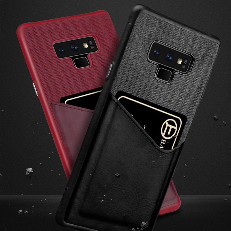 10 PCS/Business Cloth Card Slot Cover For Samsung S9 Plus Note 9 8 S8 Case back cover shockproof Leathre fabric case coque