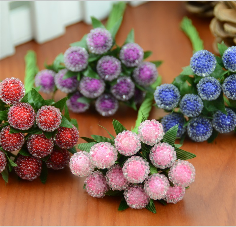Buy 12pcs small berries artificial flower for Artificial pomegranate decoration