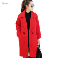 2017 New Autumn Korean Style Women Wool Blends Coats Plus Size Wide Waisted Long Sleeve Pure