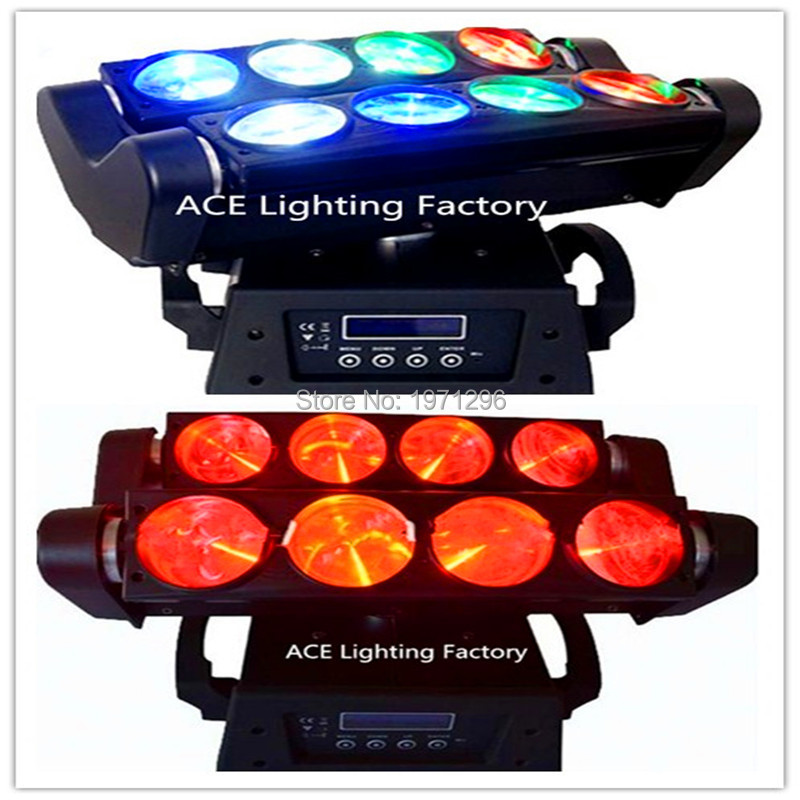 2pcs/lot Fast&Free shipping 8x10W 4IN1 RGBW LED Spider Moving Head Beam Light DMX Led Light 3 Degree Beam Angle Led Stage Lights 4 pieces fast shipping mini 8x10w 4in1 rgbw mini led spider moving head beam light dmx led spider light spider led moving head