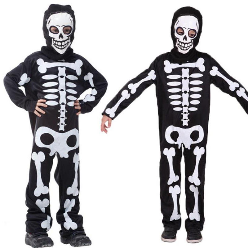 HUIHONSHE Halloween Carnival Party Costume Game Performance Black W Clothing Children's Terror Skeleton Costumes with Cap