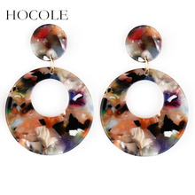 HOCOLE New Geometric Dangle Earrings For Women Vintage Resin Acrylic Drop Earring Big Brincos Statement Female Korean Jewelry