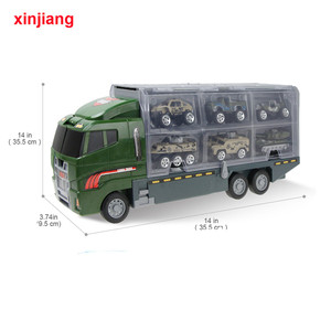 Image 5 - 1:64 Diecast Car Model Big Truck & 10PCS Alloy Car Toy Vehicle Simulation Military Vehicle Helicopter For Children Boys Gifts }