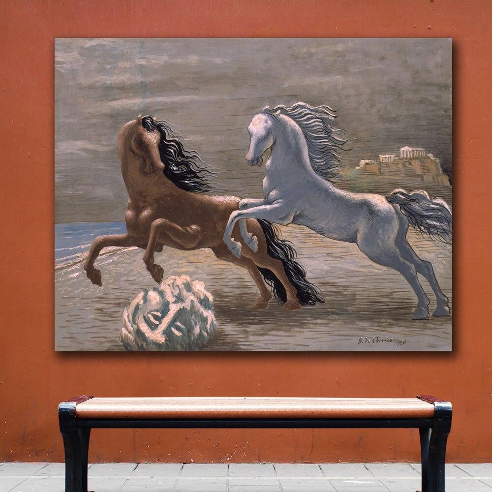 giorgio de chirico cavalli in riva al mare Canvas Painting For Living Room Home Decoration Oil Painting On Canvas Wall Painting