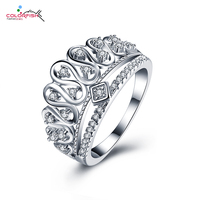 COLORFISH Women Cute Crown Party Rings Love Promise Jewelry Gifts High Quality Zircon 925 Sterling Silver