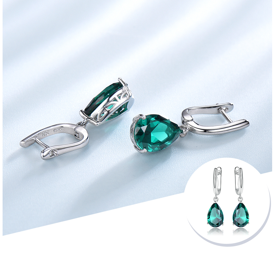 UMCHO Created Green Emerald Gemstone Clip Earrings for Women Solid 925 Sterling Silver Anniversary Wedding Party Gifts Jewelry
