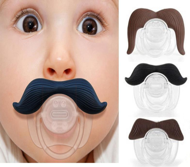 Funny Black Infant Silicone Chill Baby Mustache Pacifier Nipples Teether Soother