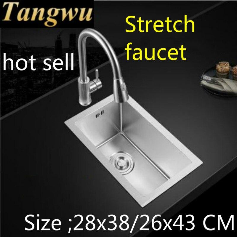 Livraison gratuite appartement cuisine balcon manuel évier simple auge en acier inoxydable robinet extensible mini vente chaude 28x38/26x43 CM