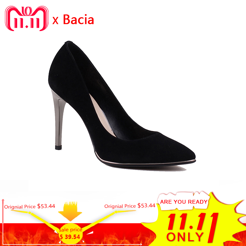 Bacia Genuine Leather shoes Summer Black High Heels Women Classic 9.8cm Thin Heel Pointed Toe Pumps Fashion Party Shoes VXA010 summer women high heel shoes women pumps genuine leather pointed toe buckle crystal women square heel fashion party shoes