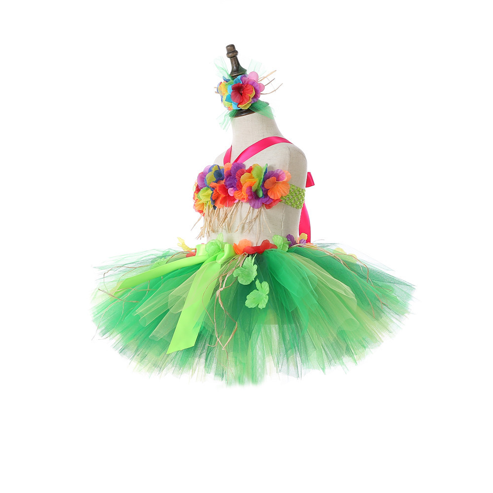 Hawaii Green Flower Fringes Tulle Skirt Girls Solid Mini Skirt for Girls Princess Tassel Party Skirt Baby Photography Costumes (4)