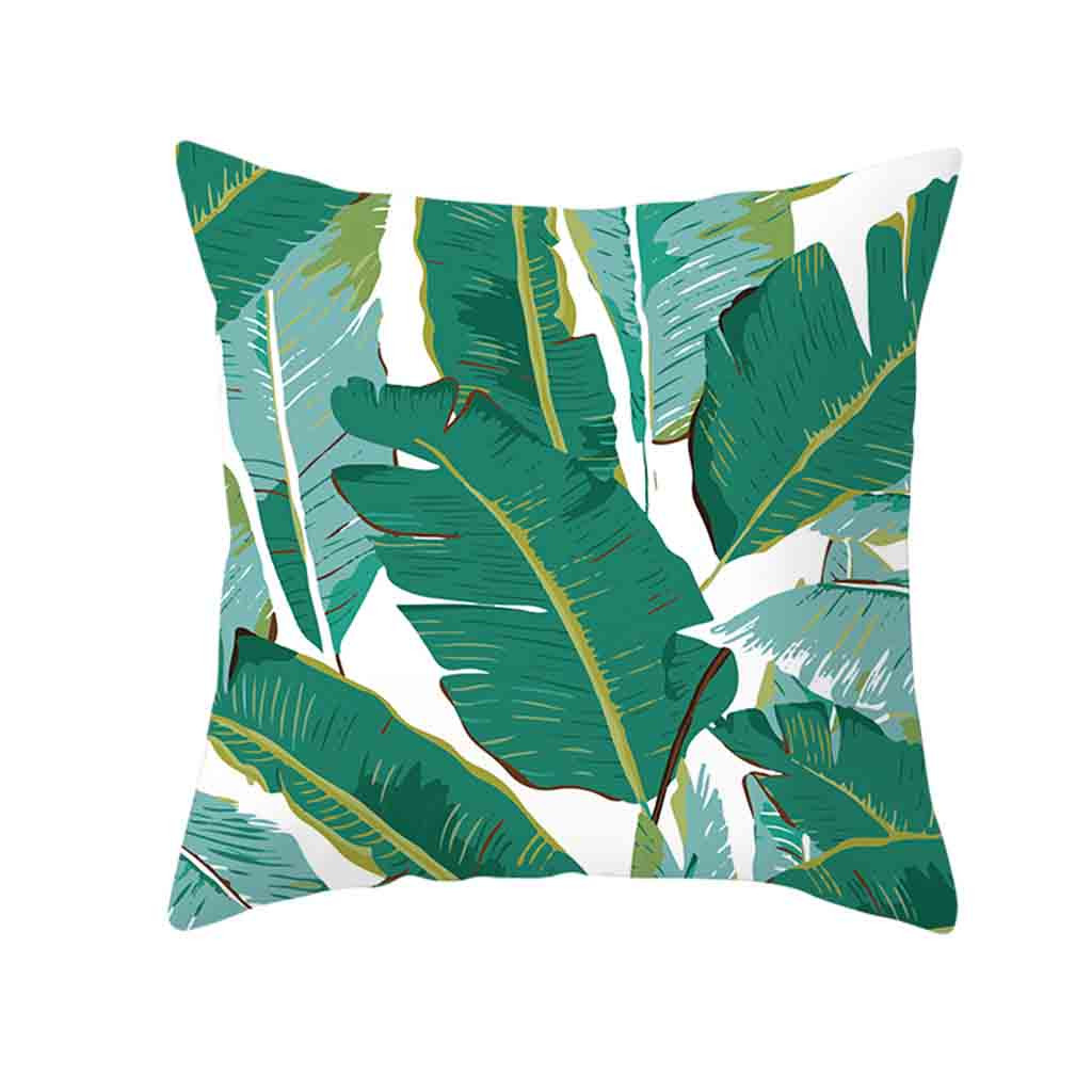 Image 5 - Decorative Green Leaf Printed Throw Pillow Cover Soft Comfortable Pillow Covers Square Polyester Cushion Case For Sofa Bedroom-in Cushion Cover from Home & Garden