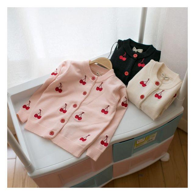 Hot 2017 de primavera y otoño niñas niños suéter de punto suéter de abrigo chaqueta de punto bebé de la historieta de cerezas