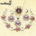 Flawless Women Wedding 4PCS Red Created Garnet Sterling Silver Overlay Jewelry Sets Graceful  Necklace/Rings/Earrings/Bracelet