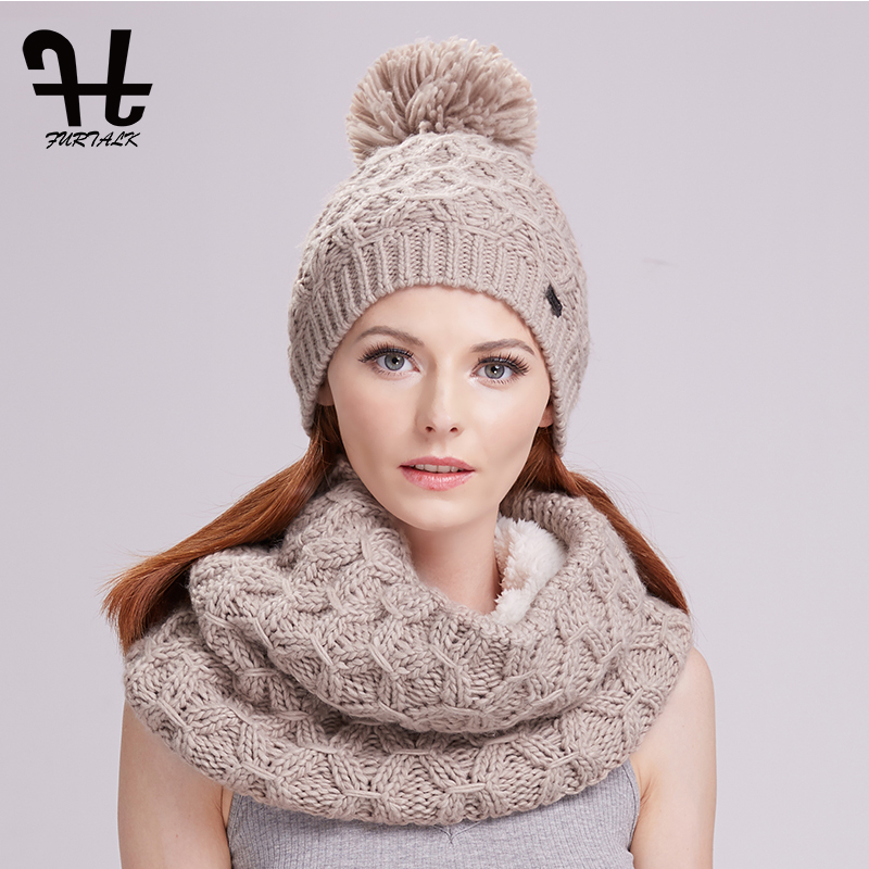 Furtalk winter women knitted hat and scarf set raccoon fur pom pom beanie  hat scarves for girls -in Scarf ef680db0814