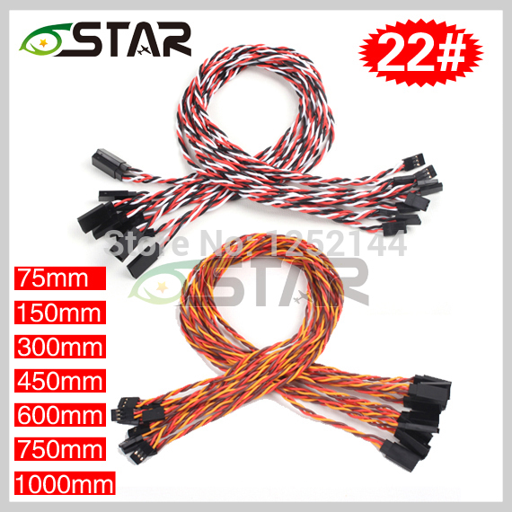 10 Pcs /lot 6 Star  22# 22AWG 60Cores Futaba JR  Anti-interference Servo Twisted Extension Cables Different Length Free Shipping