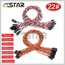 10 unids/lote 6 estrellas 22 # 22AWG 60 núcleos Futaba JR Anti-interferencia Servo trenzado de Cables de extensión longitud diferente envío gratuito