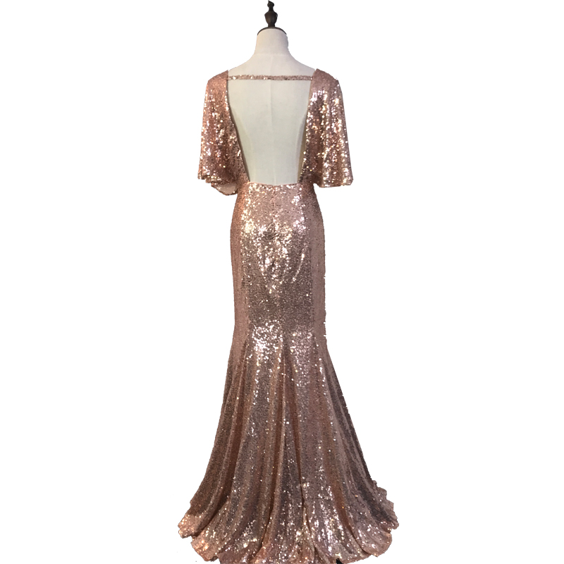 Rose Gold Mermaid Sequined Bridesmaid Dresses deep v-Neck Backless summer Wedding Guest Dresses Lady Formal gowns ZD003 5