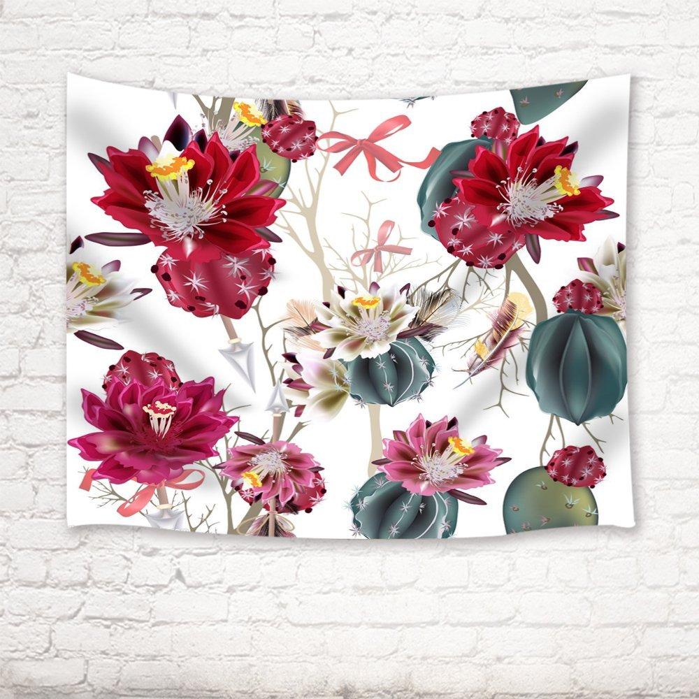 Кактус Гобелены изолированный Цветок кактуса векторная иллюстрация стены Книги по искусству висит для Спальня Гостиная общежития, красный