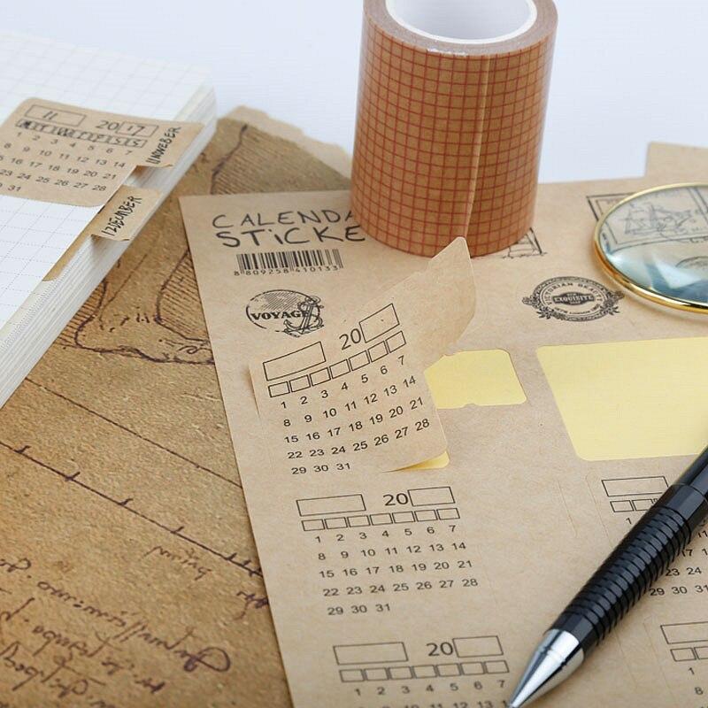 2Pcs/Set 2019 Retro Kraft Paper Handwritten Calendar Notebook Index Label Sticker Schedule Planner 2018.10~2019.12