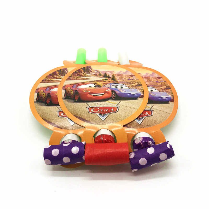 Disney Cars Theme 6Pcs/Lot Boy Birthday Party Blowout Lightning McQueen Cartoon Whistle Baby Shower Toy Blowing Dragon Supply