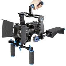 מקצועי DSLR Rig כתף וידאו מצלמה מייצב תמיכת כלוב/מט תיבה/בצע פוקוס עבור Canon Nikon Sony מצלמה מצלמת וידאו