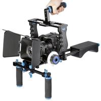 4in1 DSLR Rig Kit Camera Cage Shoulder Mount Matte Box Follow Focus For Canon 5D 6D