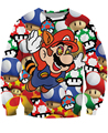 Women Men 3D Pull Cartoon Mario On Shrooms Crewneck Sweatshirts 80's Mario's psychedelic drug Sweats Jumper Sexy Pullover Tops